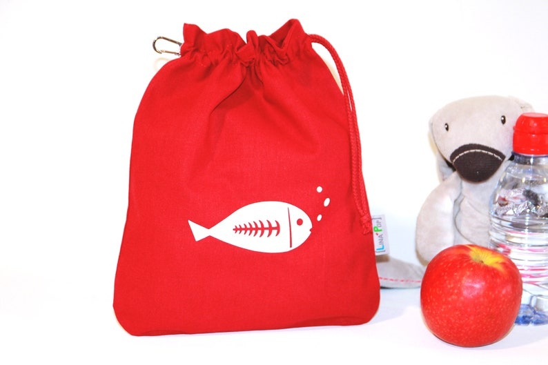 Taste pouch  Customizable Doudou Bag  100% Red Uni Cotton image 0
