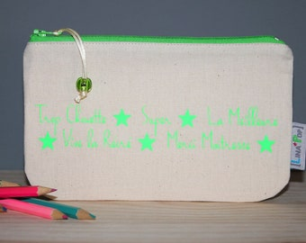 """Personalized teacher gift - Pencil case """"Thanks teacher"""" - beige pouch and neon green marking - fine gift of the year"""