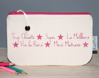 """Personalized teacher gift - Pencil case """"Thank you teacher"""" - marking hot pink and beige pouch - end of year gift"""