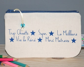 """Personalized teacher gift - Pencil case """"Thanks teacher"""" - beige pouch and blue markings - fine gift of the year"""