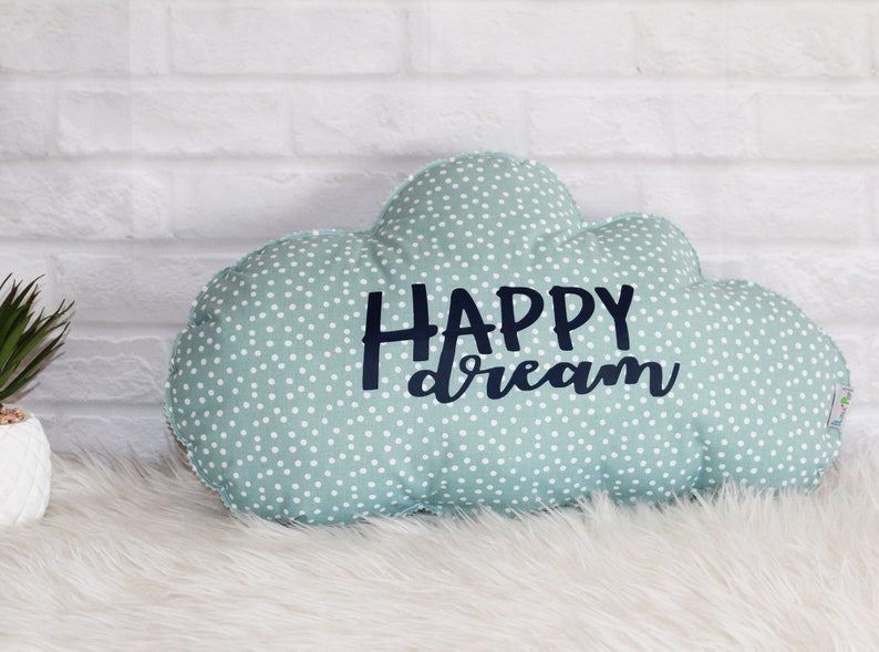 Cloud Cushion Balloons and Peas Baby Mint image 0