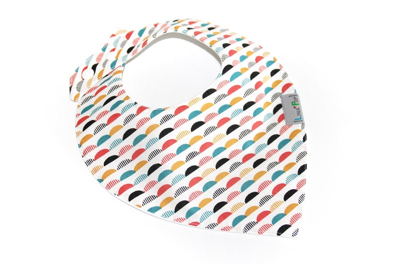 Bib bandana baby boy/mixed-double Lange & cotton fabric image 0