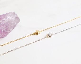 Tiny Star Bracelet, star bracelet, friendship bracelet, everyday bracelet, dainty bracelet, 14k gold, silver star bracelet