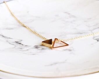 Silver Brass Triangle Geometric Necklace SALE Triangle Necklace Long Geo Necklace Layering Necklace Modern Trendy Hip