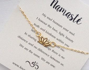 Lotus Bracelet, gold lotus flower bracelet, tiny lotus flower bracelet, lotus bracelet,namaste bracelet,14K gold plated