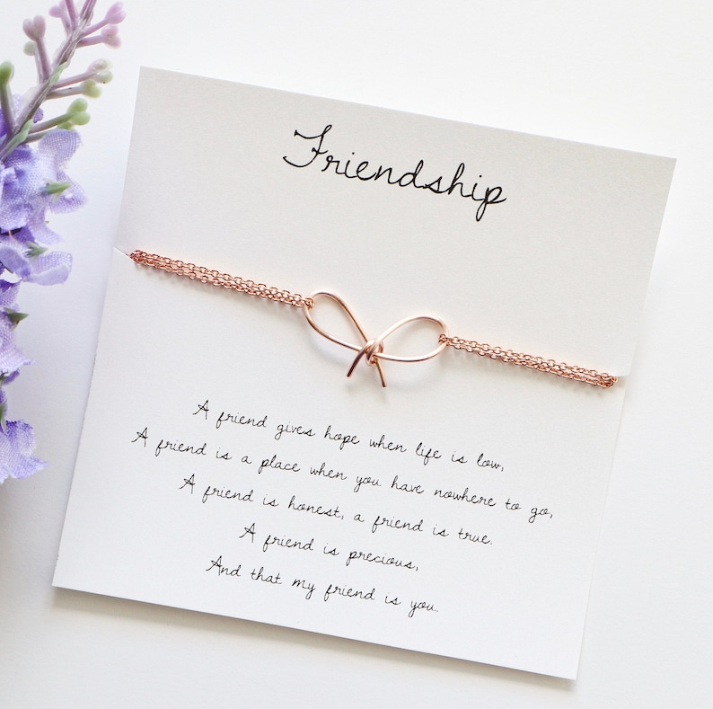 Friendship bracelet bow bracelet gift for best friend best image 0