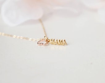 Gold mama necklace, personalized jewelry, name necklace, nameplate necklace, 14k gold filled necklace