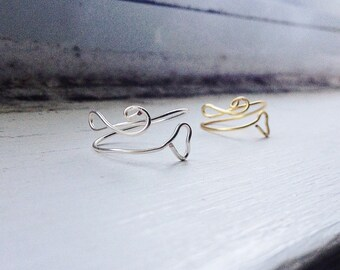 Treble clef Ring, treble clef heart ring, music note ring, wire wrapped ring, music ring, music lover gift, gold, silver