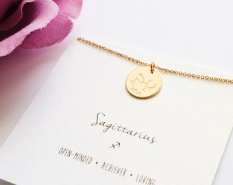Sagittarius Necklace, Coin Constellation Necklace, zodiac coin necklace, astrology sign necklace, zodiac necklace, star sign,meaningful gift