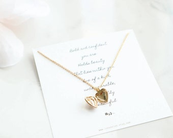 Heart locket necklace, gold locket necklace, tiny locket necklace, sweetheart locket necklace, anniversary gift, dainty heart necklace