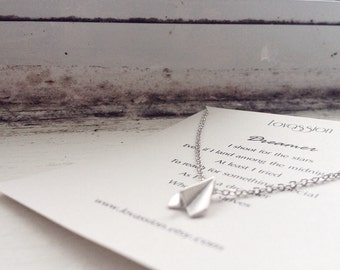 Paper Plane Necklace, airplane necklace, wanderlust necklace, gold, silver, minimalist jewelry