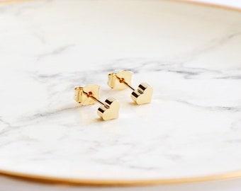 Gold heart stud earrings, silver heart stud earrings heart earrings, heart studs, 925 sterling silver, gold earrings