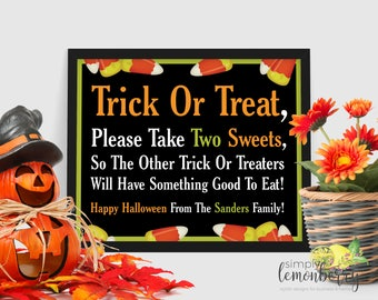 halloween candy bowl sign please take a treat sign please take one sign trick or treat sign halloween chalkboard