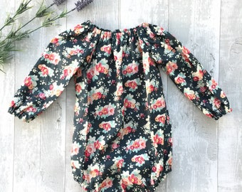 Baby girl bodysuit, Toddler playsuit lomg sleeve, Fall baby outfit, Long sleeve baby romper, Baby overalls,  Fall Toddler outfit, UK seller