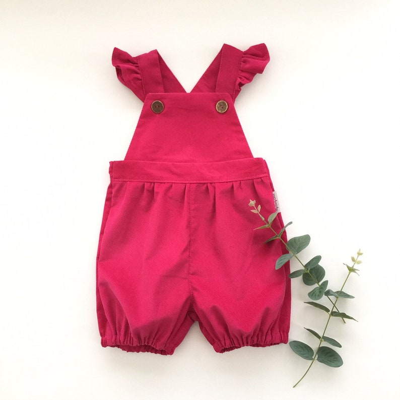 f03a8d313 Dark pink short bubble corduroy overalls Toddler baby girls   Etsy