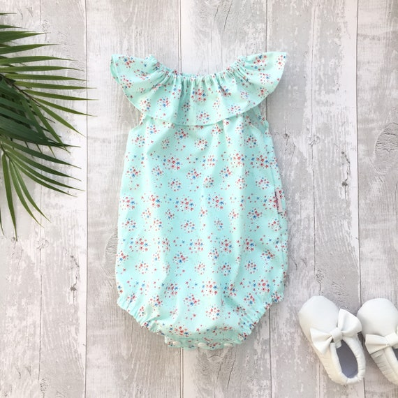 5fc5a8eec3c1 Baby girl toddler ruffle collar bubble romper summer