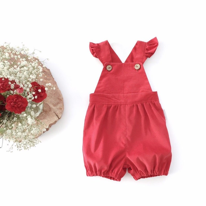 26a3b9817e0f Baby girl toddler red short bubble corduroy romper Ruffled