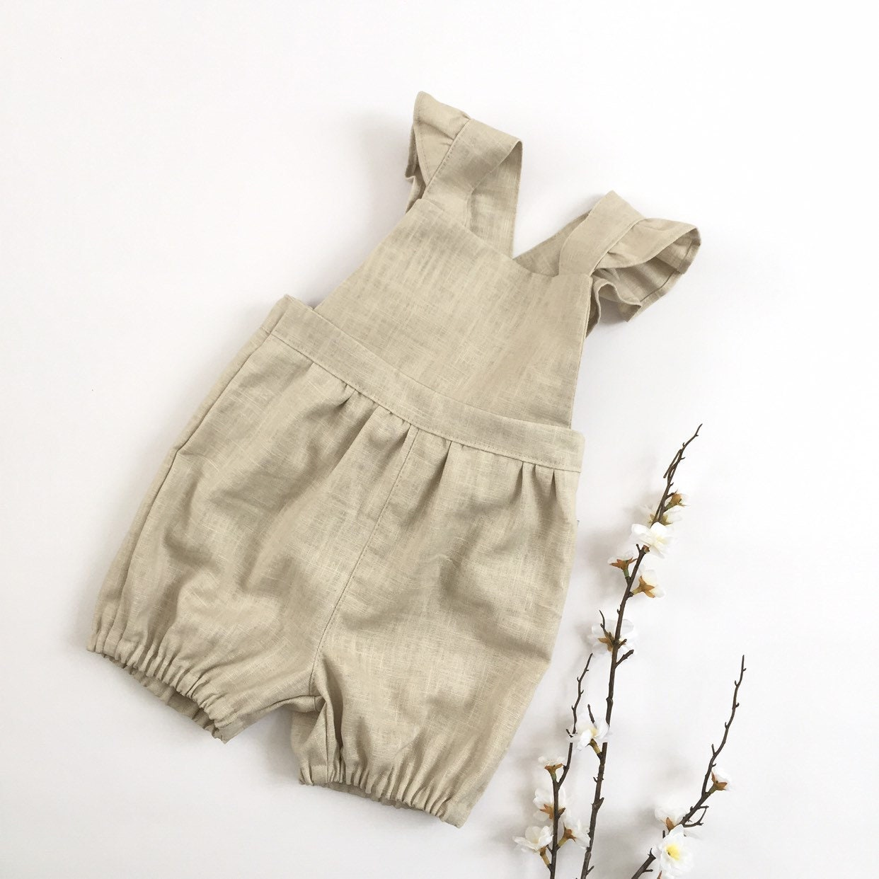 5a11e250656 Short bubble linen overalls with ruffle Baby girls toddler