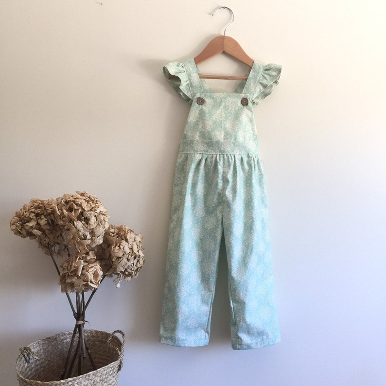 0023b883f Long overalls with ruffle Mint green Baby girl toddler