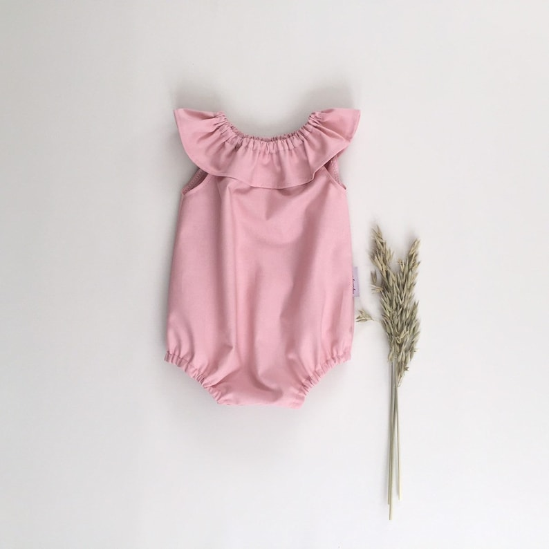 5b269ce0960 Ruffle collar baby girl playsuit Mint green summer outfit