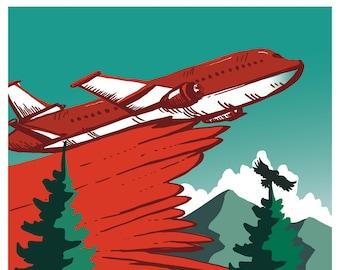 "PROTECT, Wildfire Plane, Giclée Print, 8""x10"""