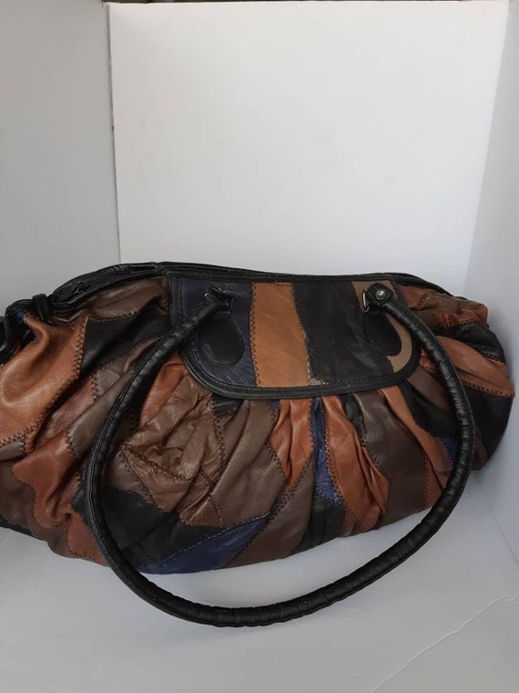 Large 70s Patchwork Leather Tote