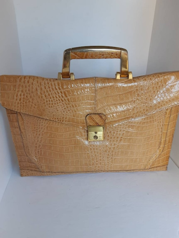 1960s Embosed Leather Top Handle Bag