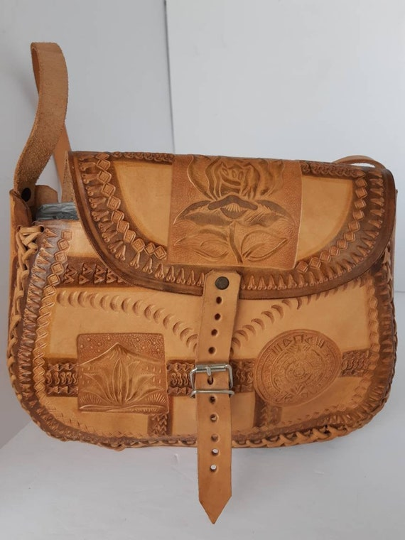 1970s Tooled Leather Crossbody Bag
