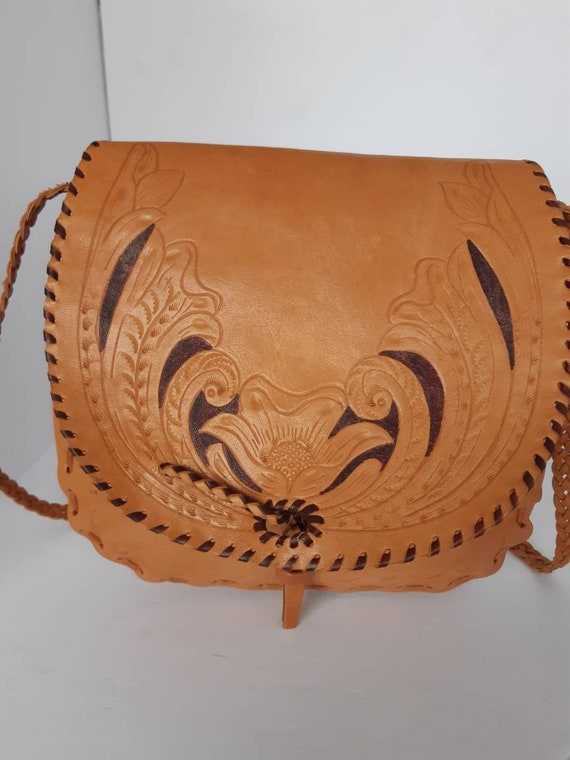 1970s Tooled Natural Leather Shoulder Bag