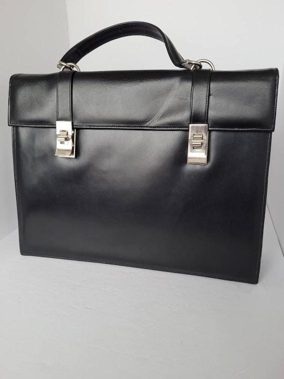 1950s Micheline Black Leather Top Handle Satchel