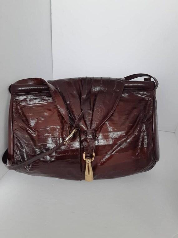 1980s Genuine Eel Skin Shoulder Bag - image 1