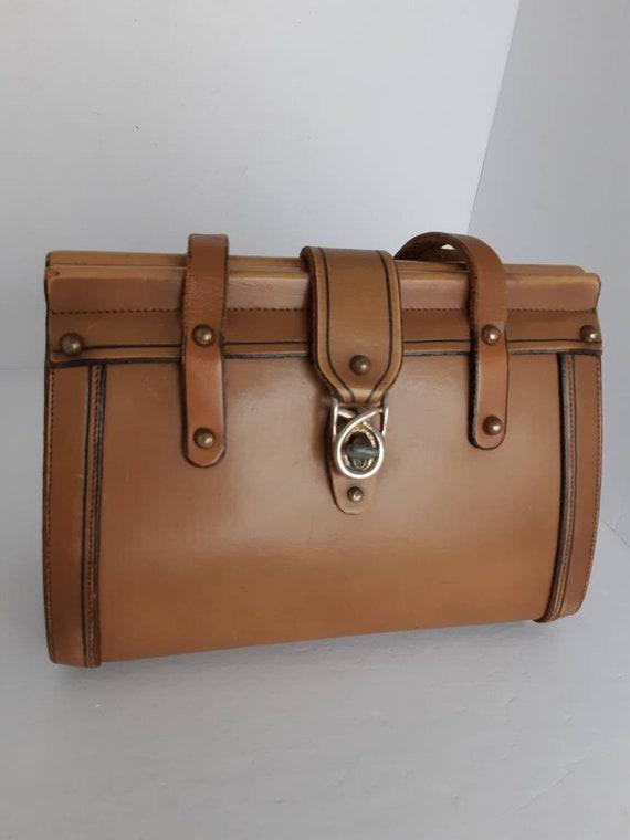 1960s Hard Shell Leather Top Handle Bag.