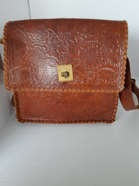 1970s Saddle Leather Tooled Shoulder Bag