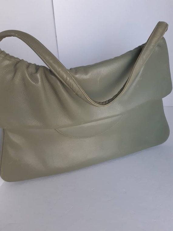 1960s Vintage Slim Leather Top Handle Bag