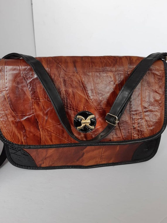 1980s Brown Patchwork Leather Bag