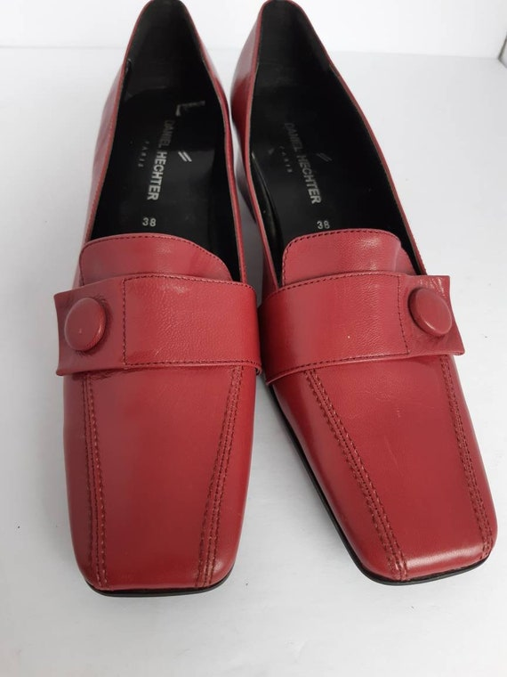 Vintage Leather Square Toe Cube Heel Shoes