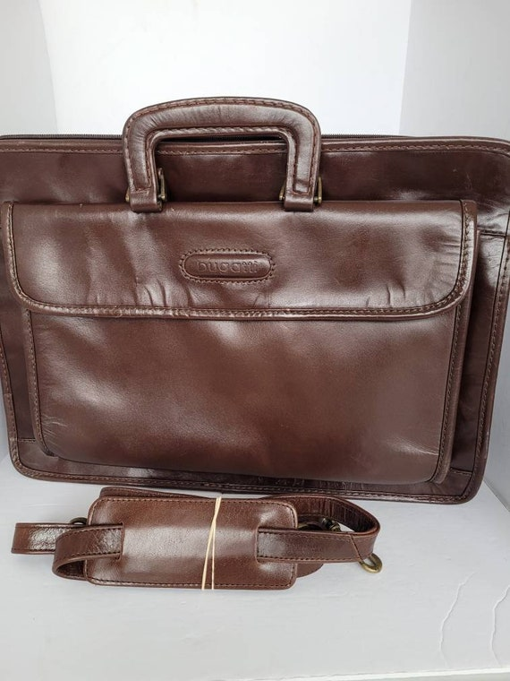 1990s Brown Leather Shoulder/Top Handle Business b