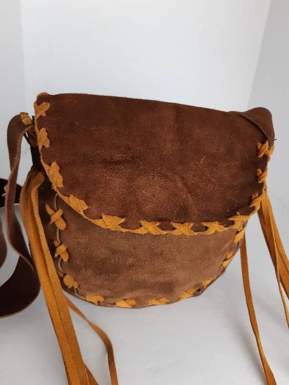 1970s Vintage Suede Fringe Bag