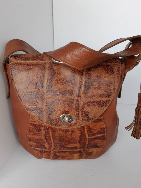 1980s Vintage leather Brown Shoulder/Crossbody Bag