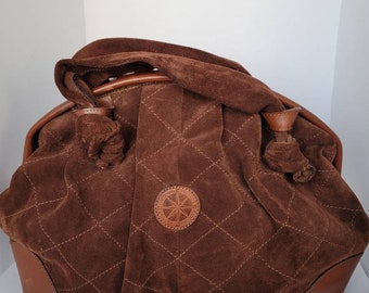 1970s Leather and Suede Short Handle Bag