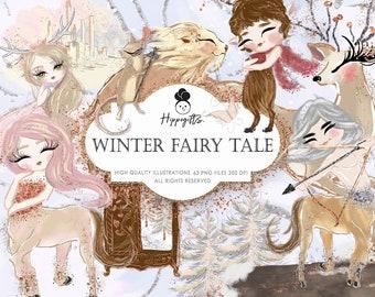 Winter Fairy Tale Clipart, Winter Animal Centaur Lion Clip Art Unicorn Christmas ,Ice Castle Whimsical Clipart Winter Planner Stickers U0016