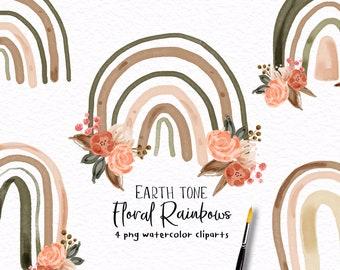 Watercolor Floral Rainbow Clipart,rainbow clipart,rainbow PNG sublimation,earth tone rainbow clipart U0099