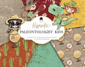 Paleontologist basic digital paper, safari digital paper, dinosaurs pattern,boy scout pattern, dinosaurs fabric pattern,travel pattern U0028