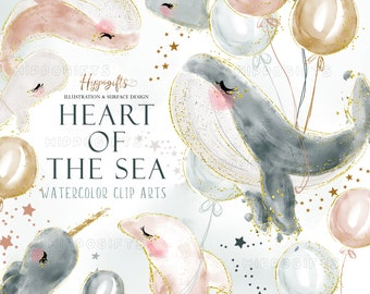 Watercolor whale cliparts,sealife clipart,fish clipart,dolphin clipart,whale with balloons,narwhal clipart,nursery art,kids art print U0059