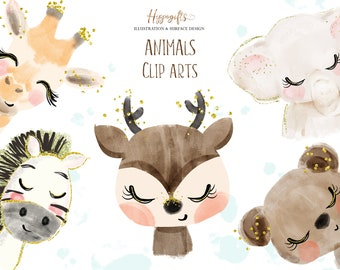 Animals cliparts,Elephant clipart,Giraffe clipart,Bear clipart,Zebra clipart,Deer clipart,Animal watercolor cliparts M001