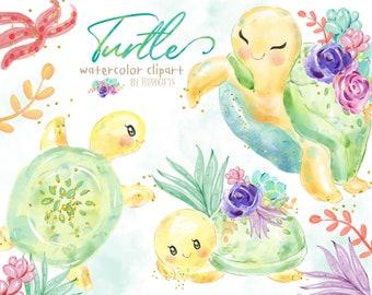 Turtle watercolor clipart.Baby turtle clipart.Watercolor animal clipart. Nursery art. Baby shower clipart U0089
