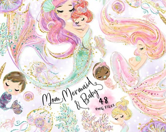 Mom mermaid and baby clipart,Mermaid clipart,Mom clipart,Mother's day clipart,Mermaid illustration,Mother's day png U0086