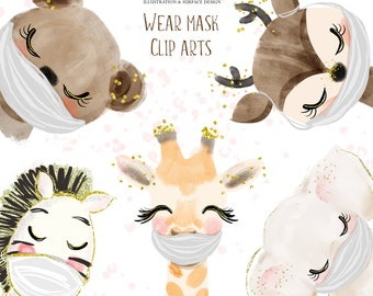 Animals wear face mask cliparts,stay safe cliparts,animal cliparts M000