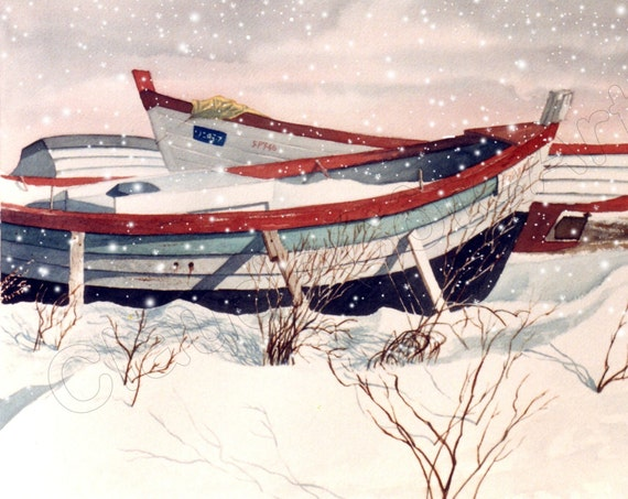 Christmas card, watercolor, boat