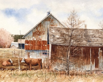 Giclée, watercolor, watercolor, farm, farm